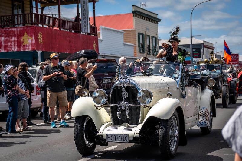 Thames,Waikato - November 10 : Steam Punk parade on November 10, 2018 on the main street of Thames in New Zealand . stock image