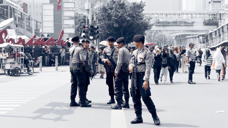 Thamrin街道恐怖在雅加达 免版税库存照片