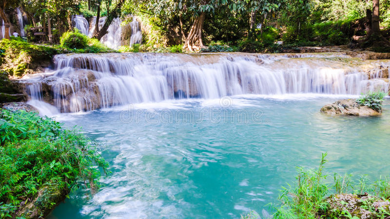 Than sawan Waterfall, Paradise waterfall in Tropical rain forest of Thailand , water fall in deep forest at border of Chaing rai a royalty free stock photos
