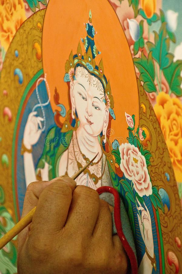 Thangka绘画,西藏艺术罗布林卡学院, Dharams 图库摄影