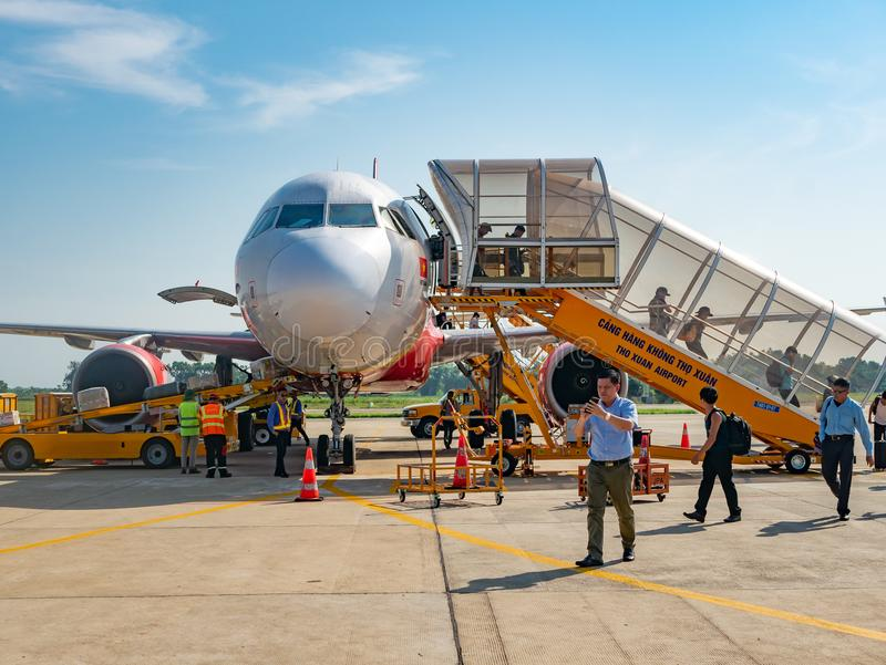 VietJet Air in Thanh Hoa, Vietnam. Thanh Hoa, Vietnam - May 16, 2018: Established in 2011, budget airline VietJet Air has already grown to become the largest royalty free stock photography