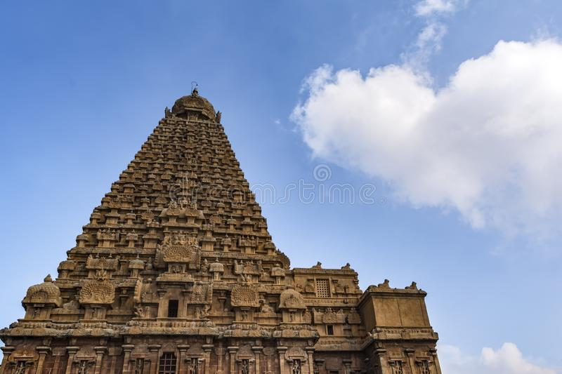 Thanjavur Big Temple Vimana - bottom up view. Brihadishvara Temple or the Peruvudaiyar Koyil or the Big Temple is a Hindu temple dedicated to Lord Shiva and it royalty free stock images