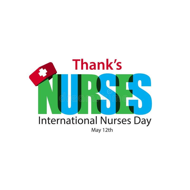 Thank' la s cura l'illustrazione internazionale di progettazione del modello di vettore del giorno degli infermieri illustrazione vettoriale