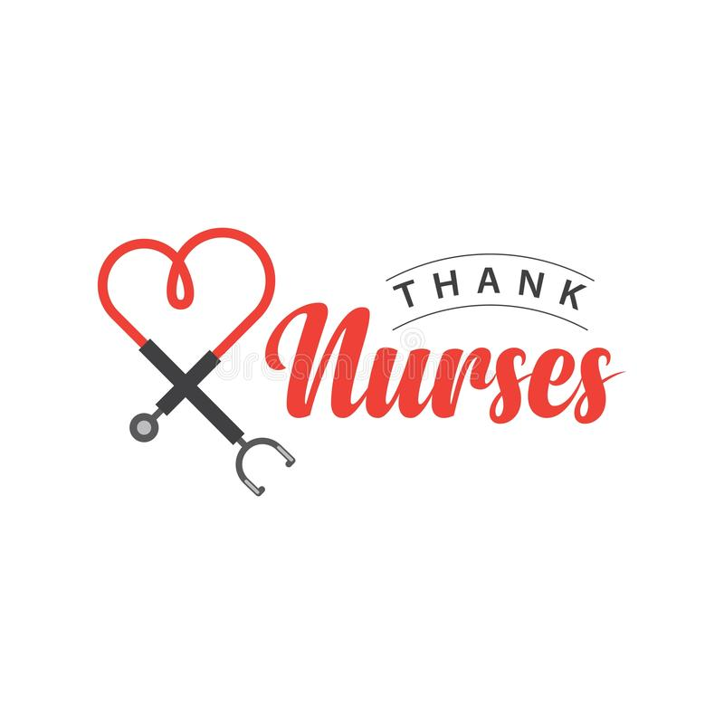 Thank Nurses Vector Template Design Illustration. Week you hand white text day heart happy background modern stethoscope holiday card hospital drawn lettering royalty free illustration