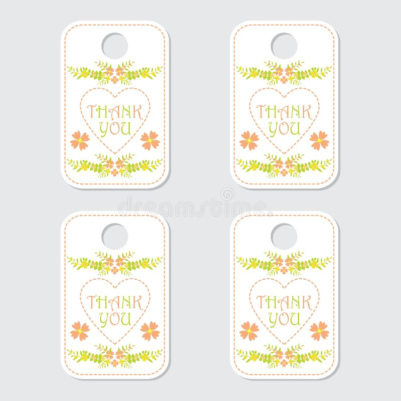 Thank tag label vector design with yellow and orange flower for sticker set royalty free stock image