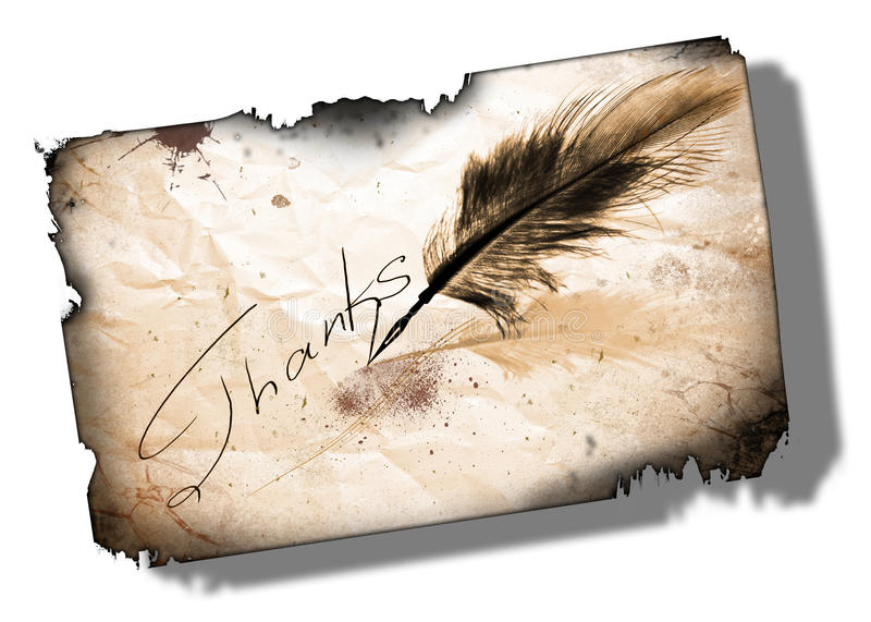 Thank you. Ink handwriting thanks or thank you with feather pen on white background royalty free illustration