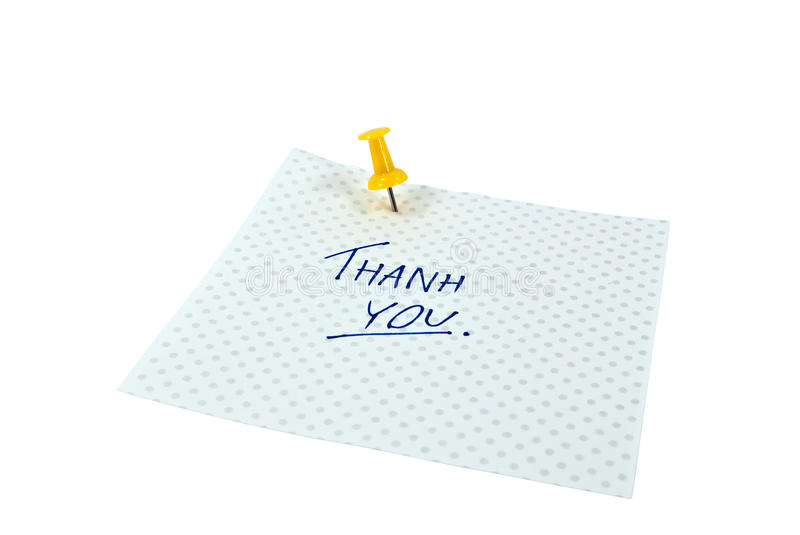 Thank You. Paper note with handwritten THANK YOU words. Background is isolated royalty free stock image