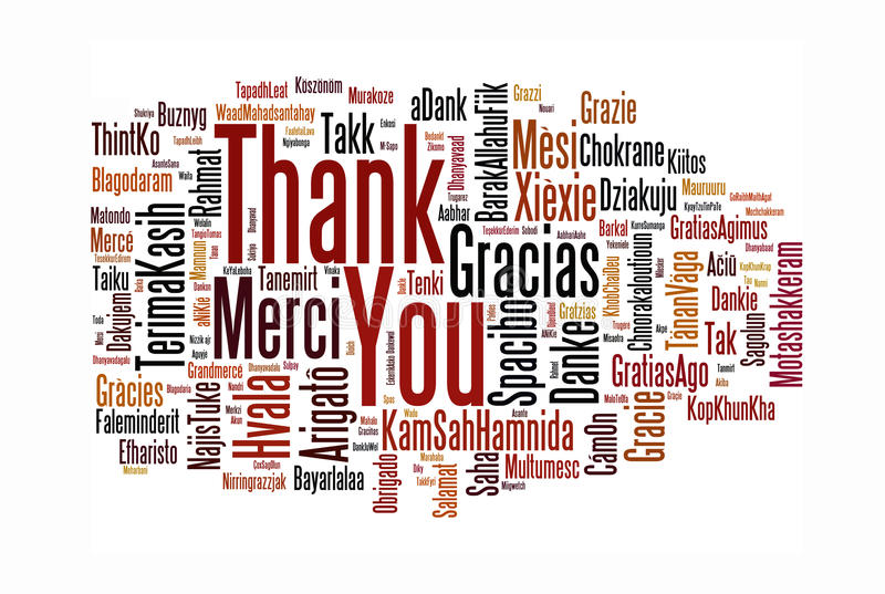 Thank You. A cloud of words of the phrase Thank You in different languages, with the more widely spoken translation in bigger fonts