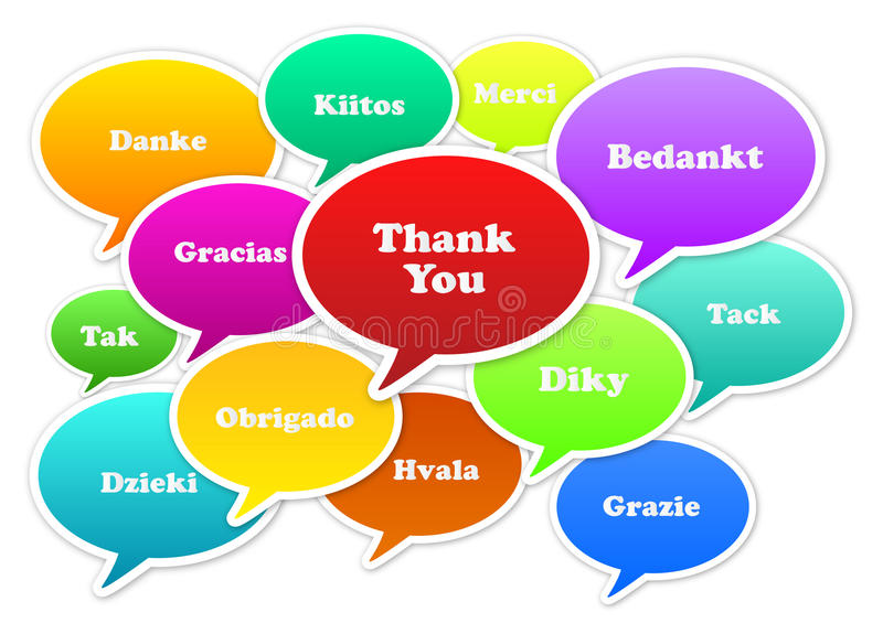 Thank You. Illustration Of Thank You Bubbles In 13 Languages