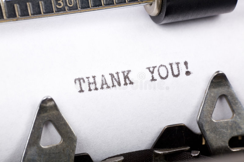 Thank you. Typewriter close up shot, concept of Thank you