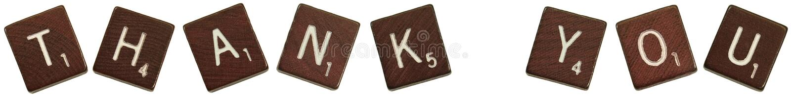 """Thank you. Isolated photo of scrabble letters saying, """"Thank you royalty free stock photos"""