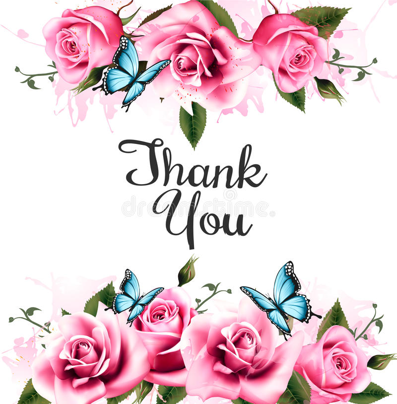 Thank You background with beautiful roses and butterflies. vector illustration