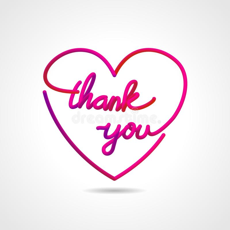 Thank you, beautiful realistic lettering greeting card vector design in love shape. stock illustration