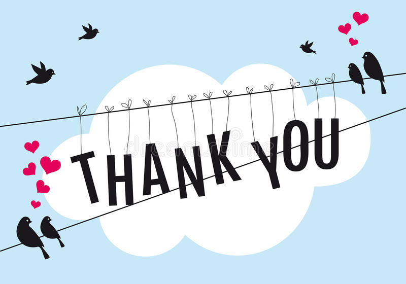 Thank you with birds in the sky, vector stock illustration
