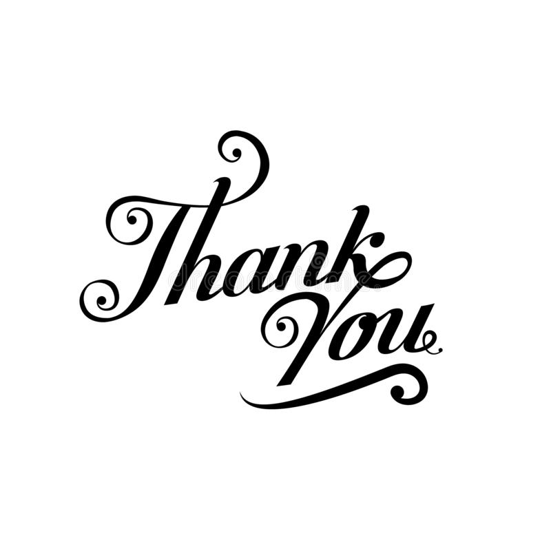 Thank You black handwritten inscription isolated on white. Thank you card Dark brush pen lettering design. Ink Vector illustration stock illustration