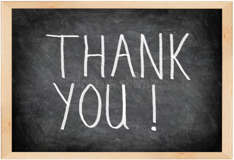 Thank you blackboard. Sign. Thank you written with chalk on black chalkboard with frame stock photo