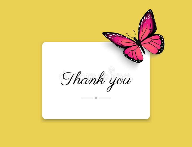 Thank you blank card with beautiful red butterfly on yellow background stock illustration