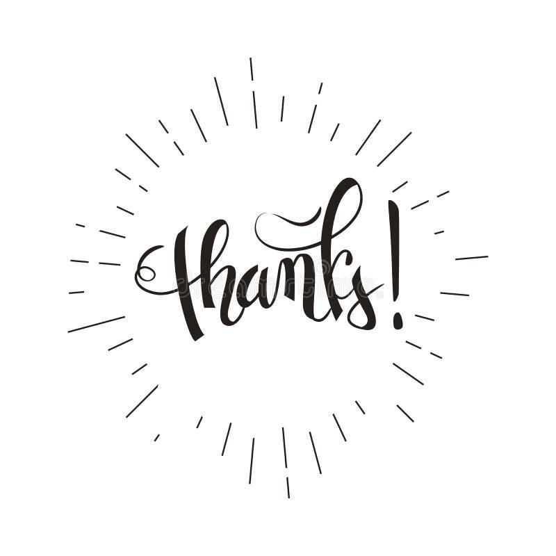 Thank you brush pen lettering, handwritten vector illustration, dark text isolated on white background. Design royalty free illustration