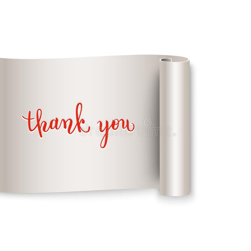 Thank you brush pen lettering on realistic curled ribbon, handwr vector illustration