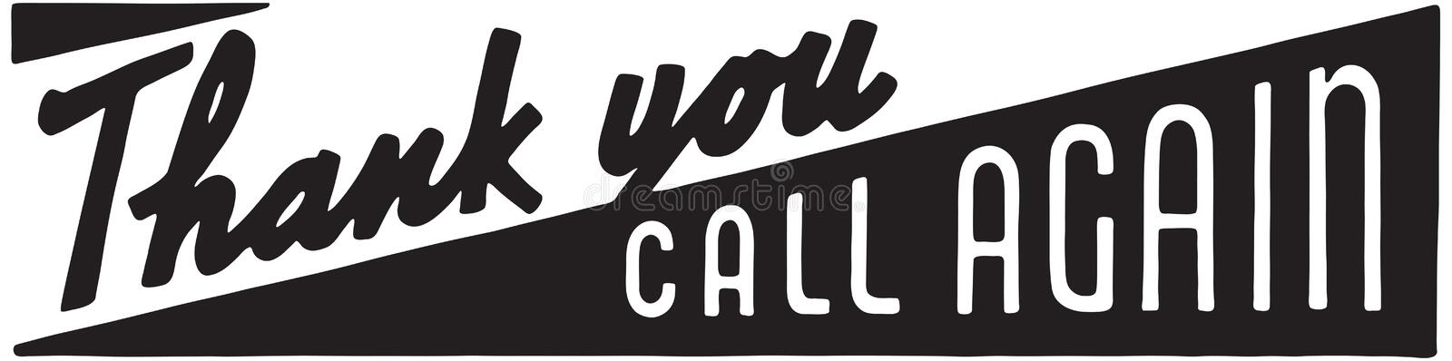Thank You Call Again 10. Retro Ad Art Banner royalty free illustration