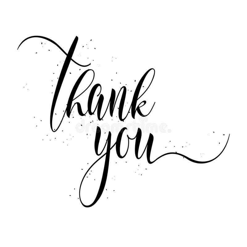 thank you calligraphy sign  stock vector