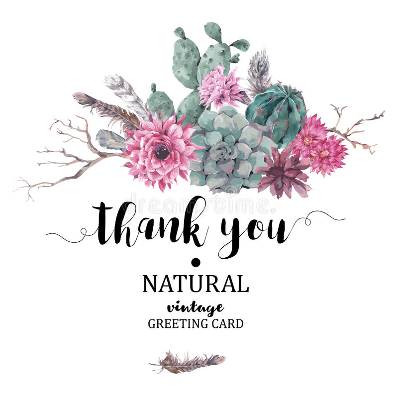 Thank You card with branches and succulent vector illustration
