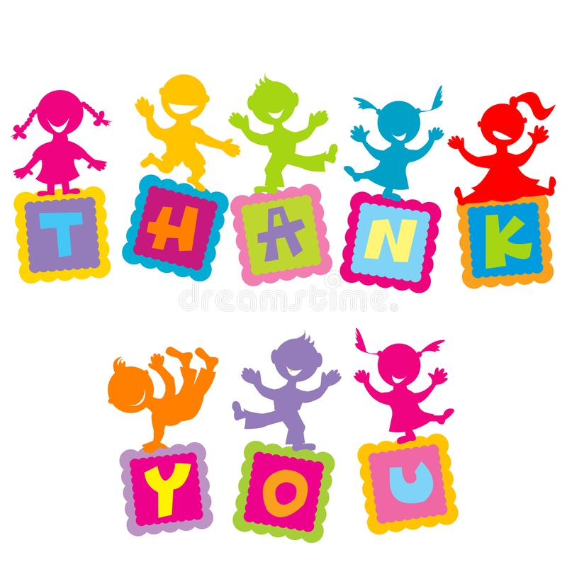 Thank you card with cartoon kids vector illustration