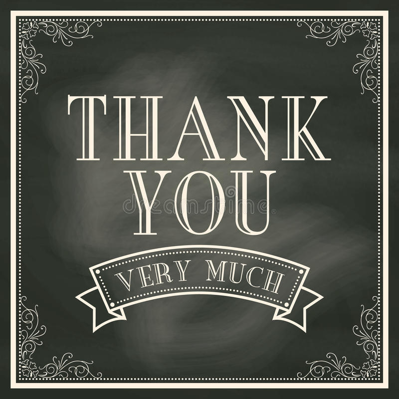 Thank You card with Chalkboard Background vector illustration