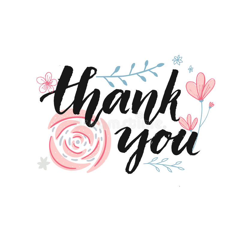 Thank you card design with brush calligraphy and hand drawn pastel pink flowers vector illustration