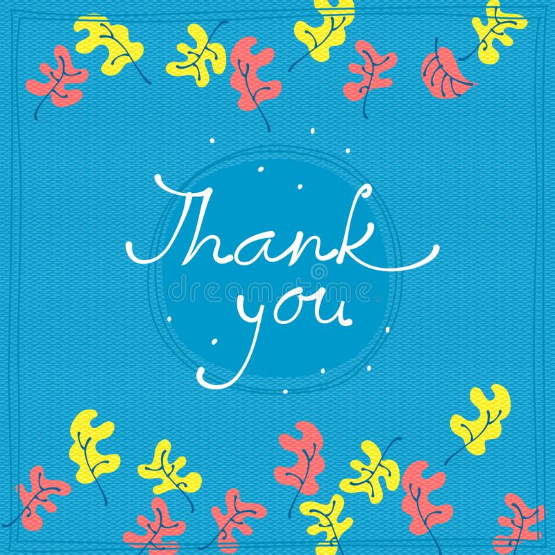 Thank you card design template. Simple greeting card royalty free illustration