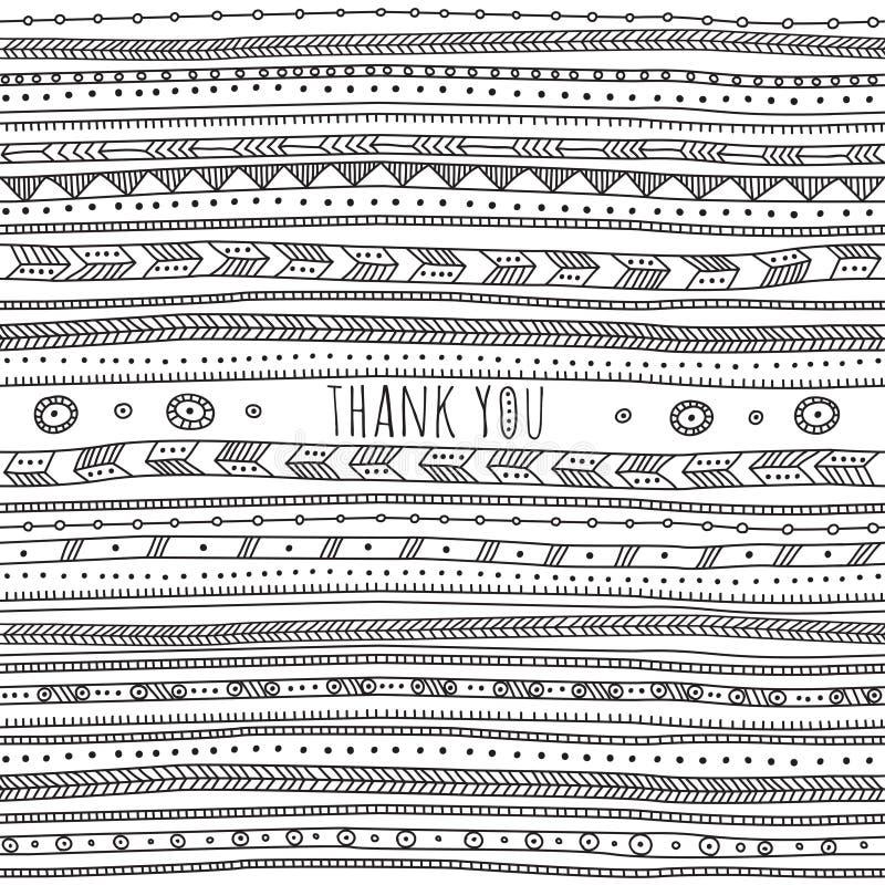 Thank you card in ethnic boho ornate style. stock illustration