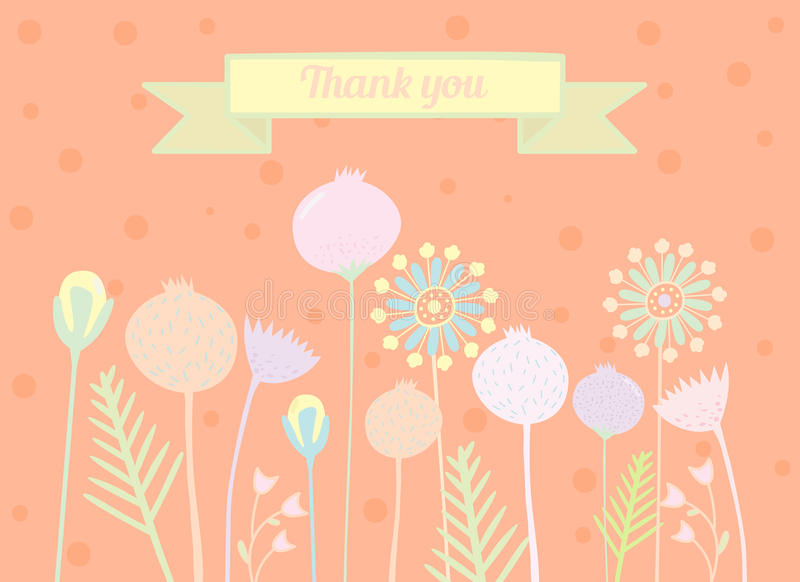 Thank you card floral designs royalty free illustration