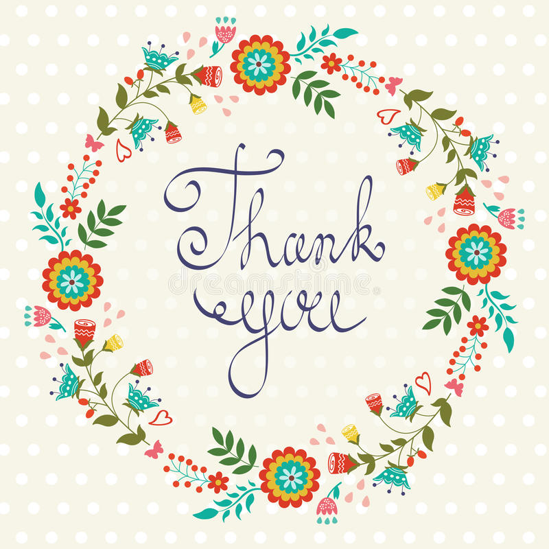 Thank you card with floral wreath. Beautiful thank you card with floral wreath stock illustration