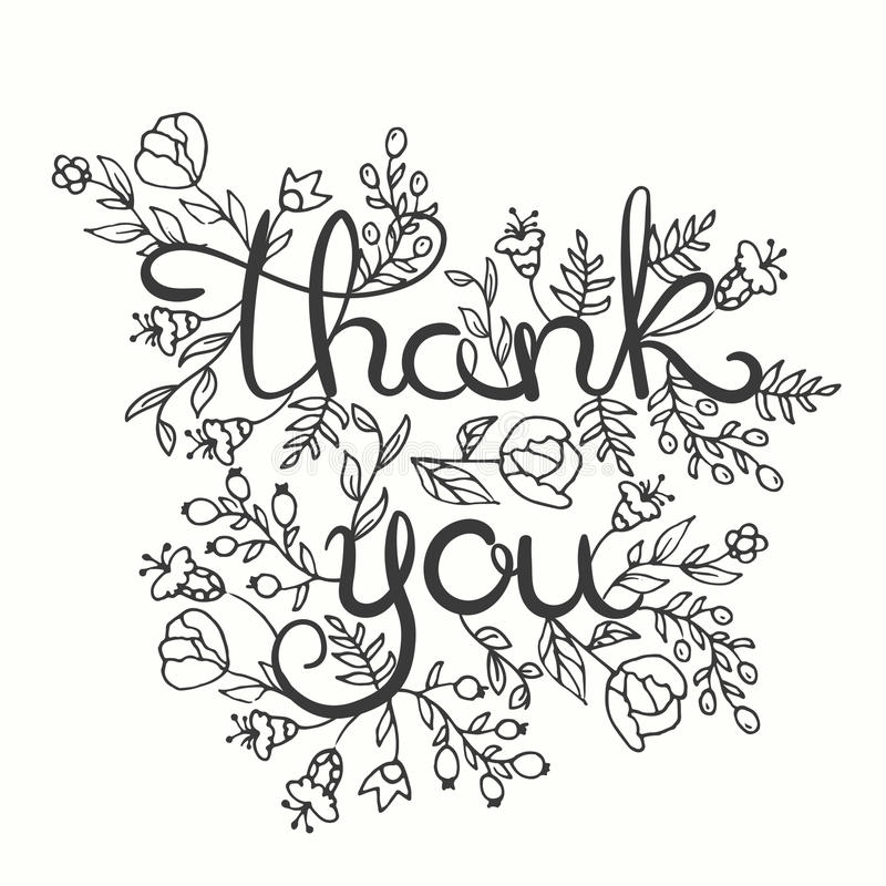 Thank you card. Hand drawn lettering design. Greeting card with flowers. Line art style. Vector illustration. vector illustration