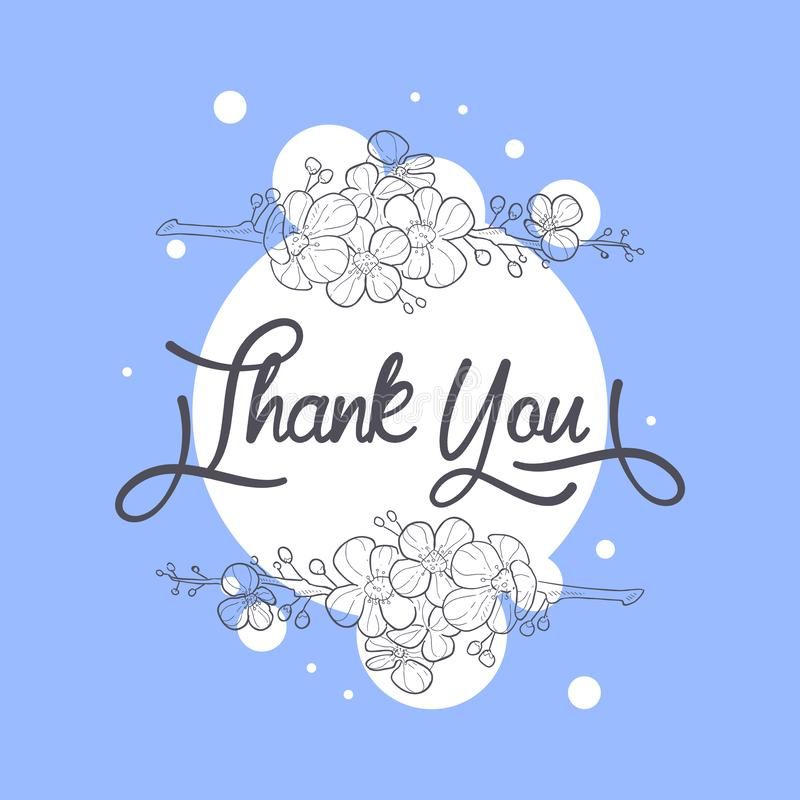 Thank You Card with Handwritten Inscription, Design Element Can Be Used for Gift or Greeting Card, Invitation, Flyer vector illustration