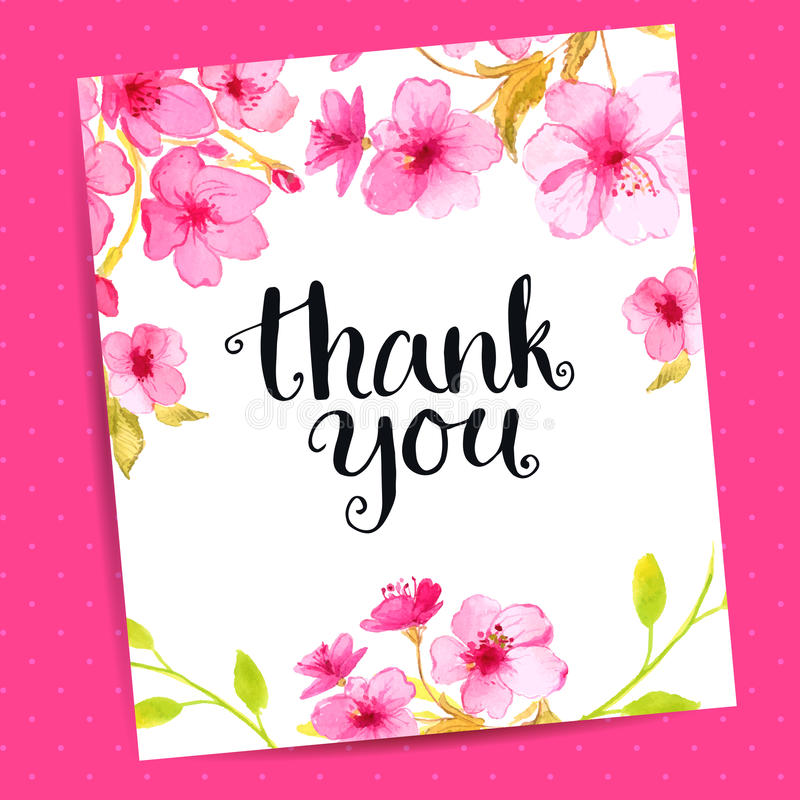Thank you card with modern calligraphy and sakura stock vector download thank you card with modern calligraphy and sakura stock vector illustration of illustration spiritdancerdesigns Choice Image