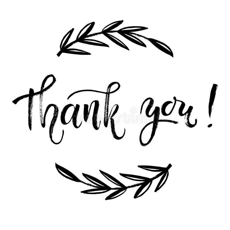 Thank You Card Template Hand Lettering Brush Pen Modern Stock