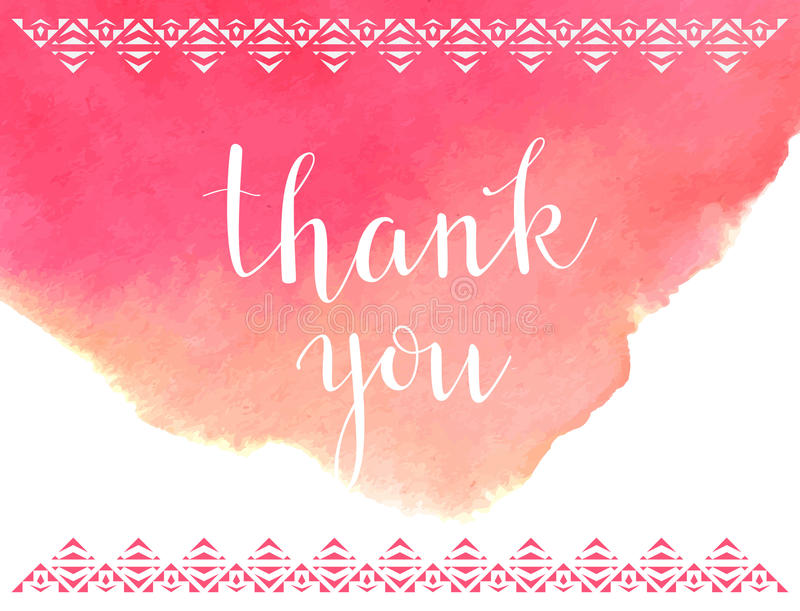 Thank You Card TemplateVector Watercolor Background Stock Vector