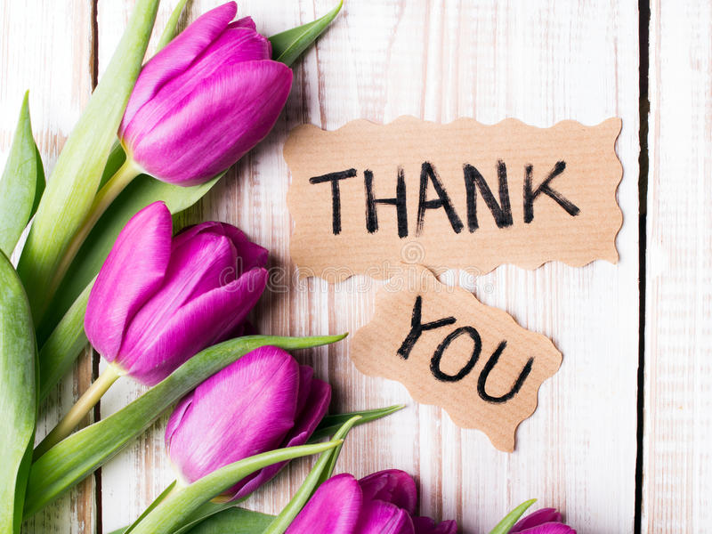 `Thank you` card and tulip bouquet stock photo