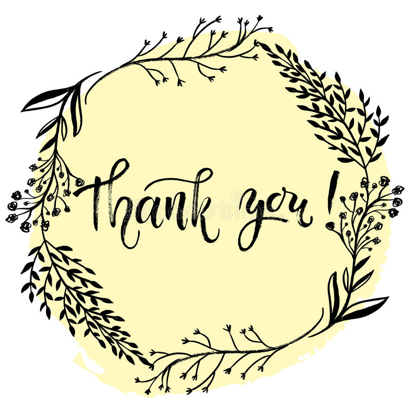 Thank you card vector template. Hand lettering brush pen modern royalty free illustration