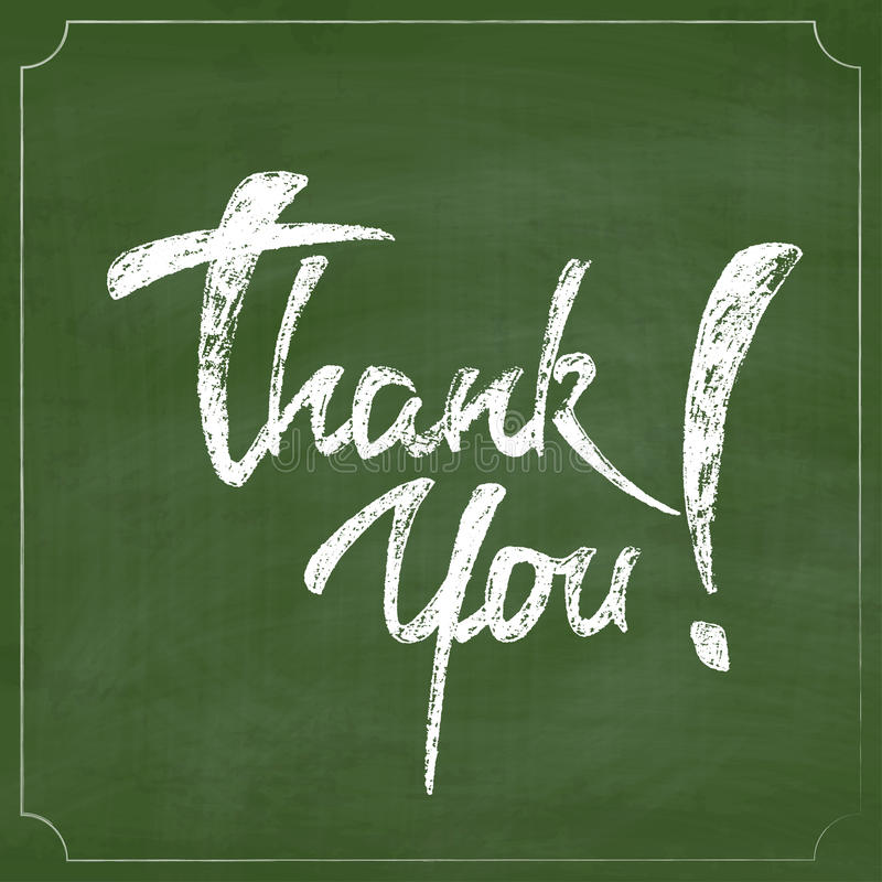 Thank You Chalk Hand Drawing Greeting Card over Green Chalkboard stock illustration