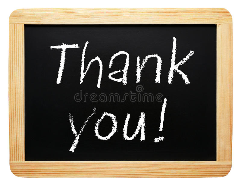 Thank you - chalkboard with text on white background stock images