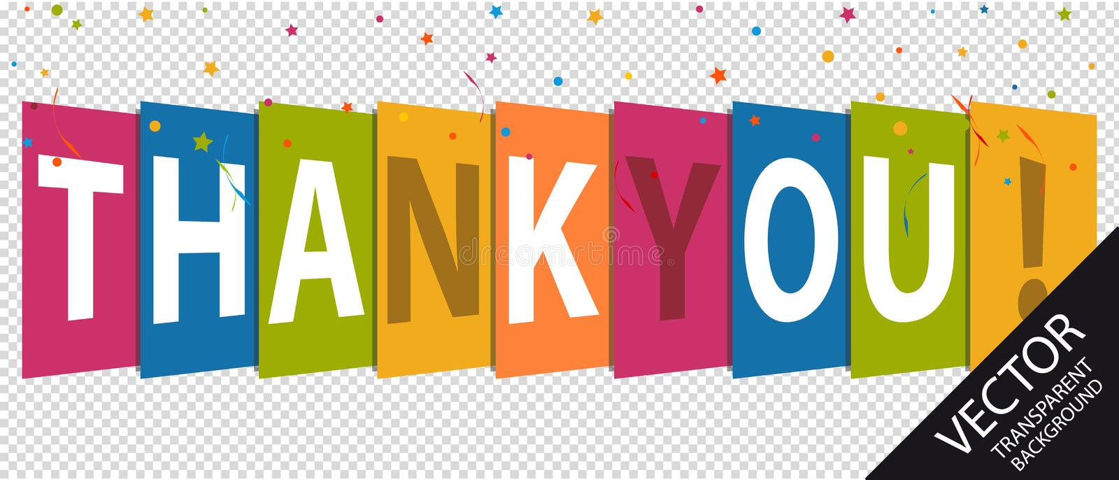 Thank You - Colorful Vector Illustration - Isolated On Transparent Background royalty free illustration