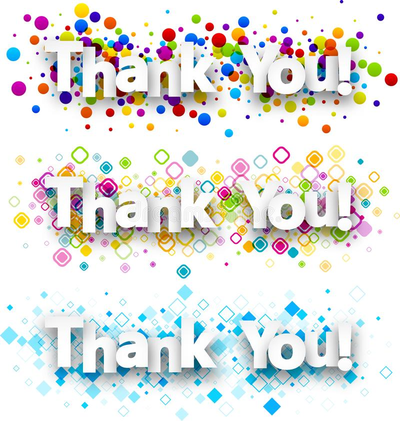 Thank you colour banners. vector illustration