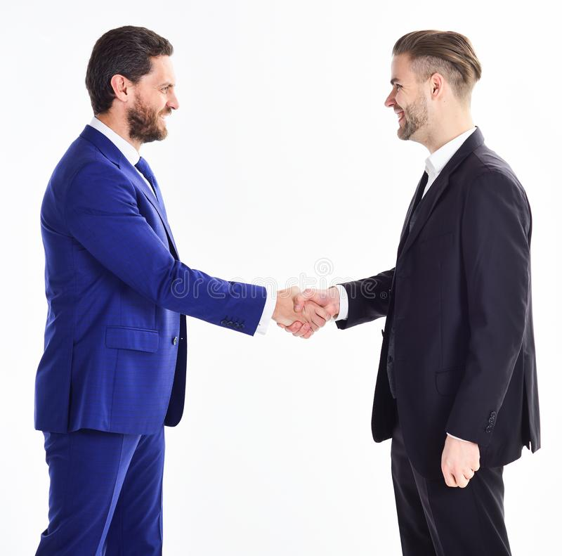 Thank you for cooperation. Collaboration of business people. Men shaking hands. Handshake sign of successful deal stock image