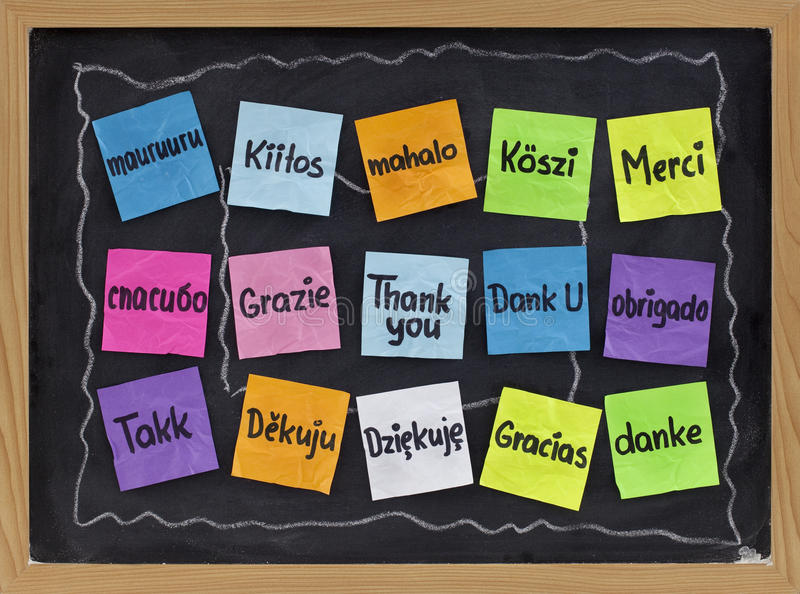 Thank you in different languages stock photos