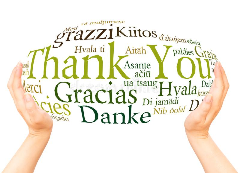 Thank You in different languages hand sphere royalty free stock images