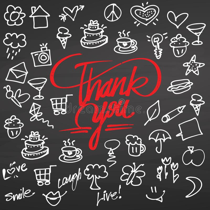 Thank you and doodles on chalkboard stock illustration