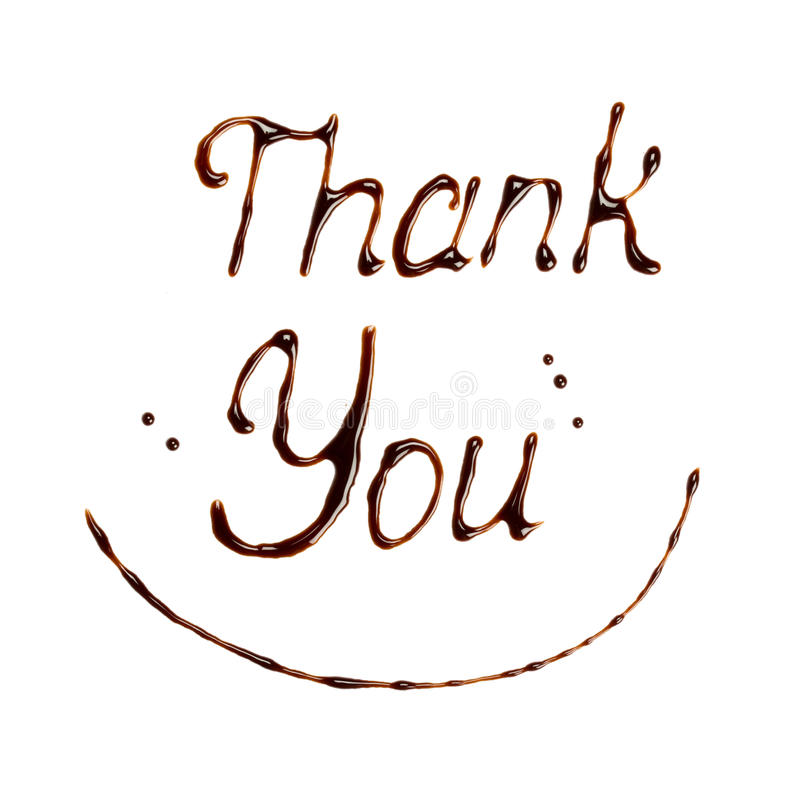Thank you. Drawing by chocolate Thank you - isolated on white background stock photography