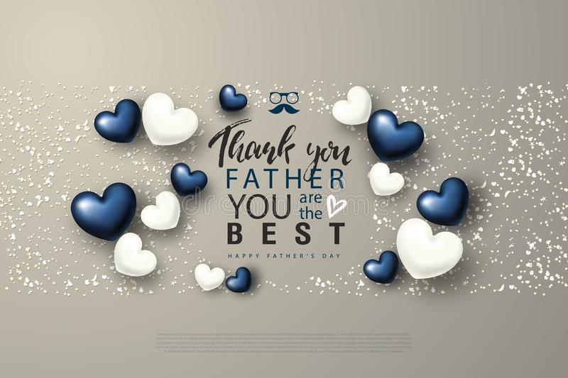 Thank you Father you are the Best. Happy Father`s Day greeting card with hearts. Vector illustration. royalty free illustration